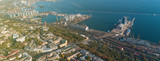 Aerial view panorama of Odessa with port and sea, Ukraine