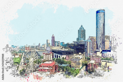 Watercolor sketch or illustration of a beautiful view of modern architecture in Atlanta in America