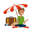 tourist woman with suitcase and umbrella