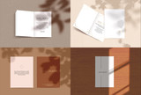 Vector scene, stationery mock up for social media. Editable transparent shadow. Background with sunlight - 256260481