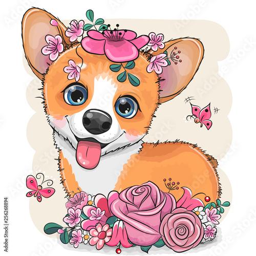 Cartoon Corgi with flowerson a white background