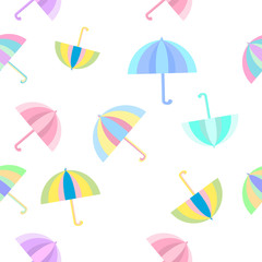 Rainbow umbrellas  seamless colorful flat pattern background isolated
