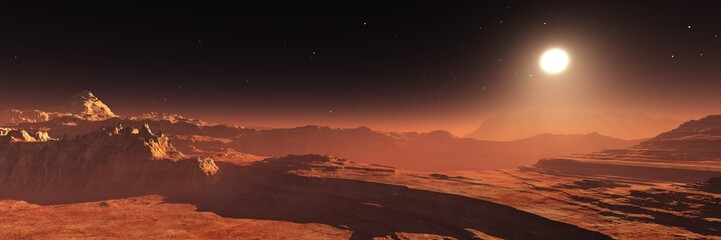 Mars at sunset, panorama of Mars, alien landscape, Martian view