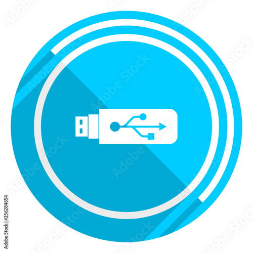 Usb flat design blue web icon, easy to edit vector illustration for webdesign and mobile applications