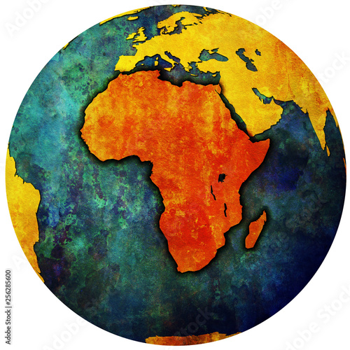 globe map with territory of africa continent