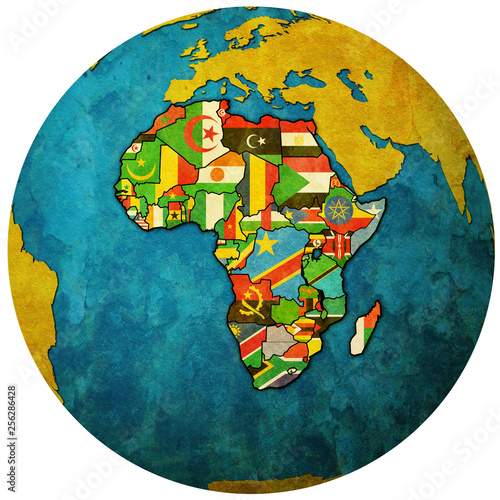 globe map with political map of african union