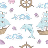 CRUISE TALE Ocean Sea Vacation Travel Tropical Summer Seamless Pattern Vector Illustration for Print Fabric and Digital Paper