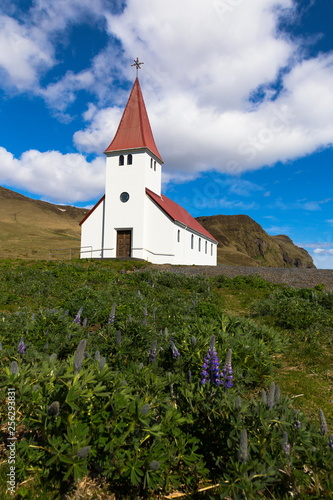 Vertical photo of lupines and white church with red roof church in Vik, Iceland, during a beautiful sunny day