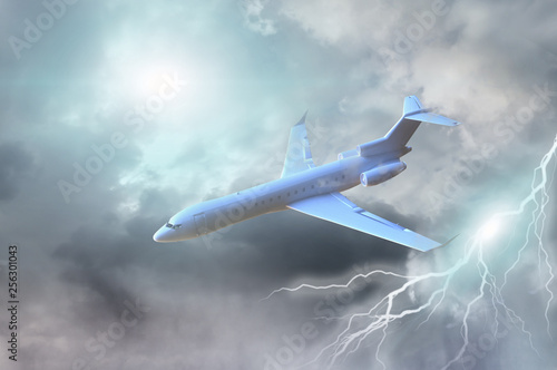 Jet in a dark stormy sky 3d render