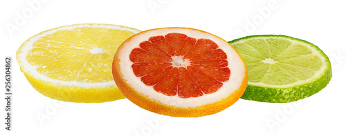 Collage of fresh citrus isolated on white background with clipping path - 256304862
