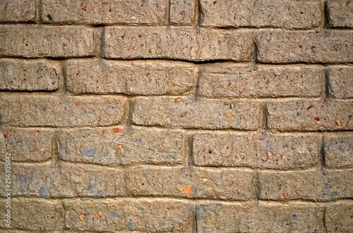 Fondo testura pared bloque arcoilla rojo  - 256305842