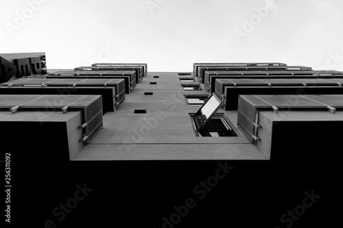 Monochromatic modern architecture seen from below