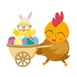beautiful hen with egg painted in wheelbarrow - 256311648