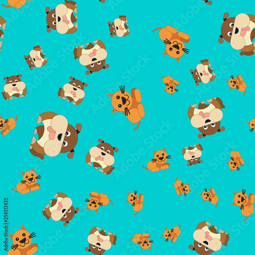 obraz PCV Seamless pattern of cat and dog