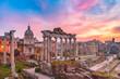 Leinwandbild Motiv Ancient ruins of Roman Forum at sunrise, Rome, Italy