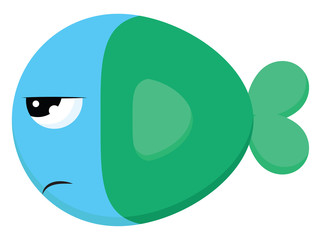 Angry blue fish with green tail, vector color illustration.