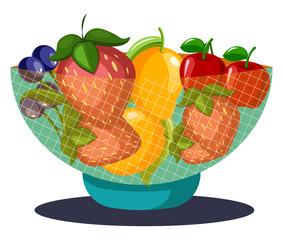 Fruits bowl vector color illustration.