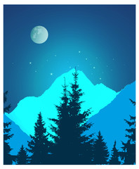 Image landscape. Silhouette of coniferous trees and snowy rocks on the background of night sky and full moon. Neon art. © yik2007