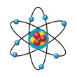 Simple atom design vector illustration on white background.