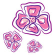 Three flowers vector or color illustration