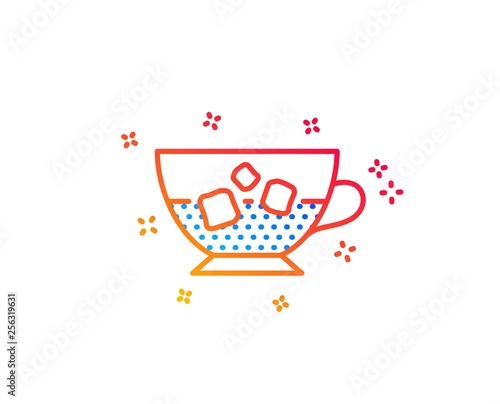 Coffee with ice icon. Cold drink sign. Beverage symbol. Gradient design elements. Linear cold coffee icon. Random shapes. Vector