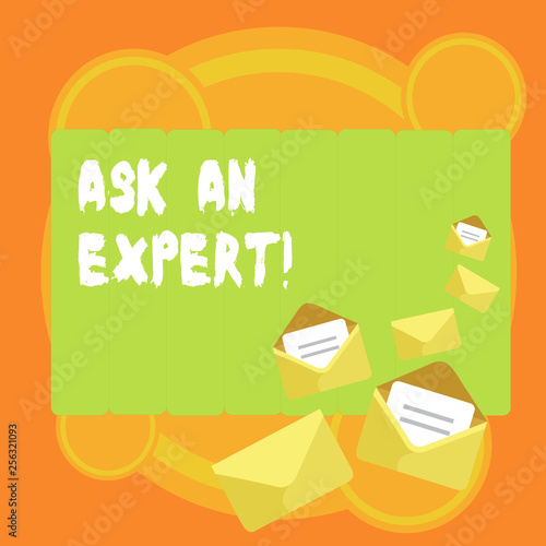 Word writing text Ask An Expert. Business photo showcasing confirmation that have read understand and agree with guidelines Closed and Open Envelopes with Letter Tucked In on Top of Color Stationery