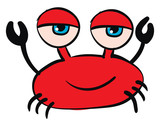 Red crab with blue eyes vector illustration on white background. - 256323270