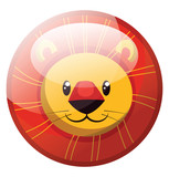 Cartoon character of a smiling yellow lion vector illustration in red circle on white background.