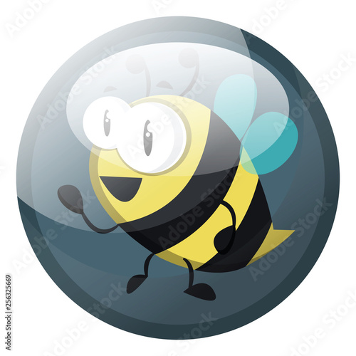 Cartoon character of a bee vector illustration in grey blue circle on white background.
