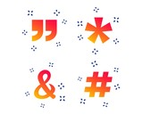 Quote, asterisk footnote icons. Hashtag social media and ampersand symbols. Programming logical operator AND sign. Random dynamic shapes. Gradient quote icon. Vector