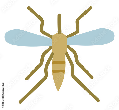 Simple vector illustration of mosquito on white background - 256327465