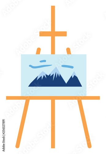 Easel with a canvas with a painting of the mountaines vector illustration on white background