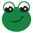 Smiling green frog vector illustration on white background