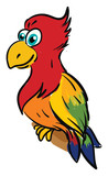 Cute smiling colorful parrot vector illustration on white background