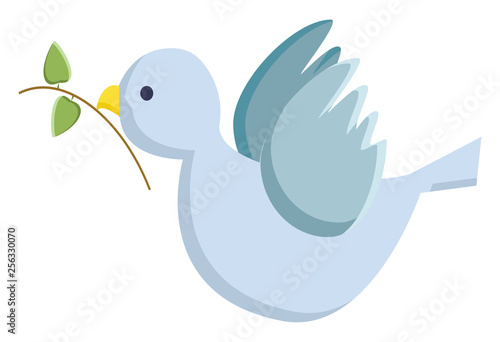 A blue bird symbolizing religion of peace vector or color illustration