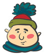 Man in warm pompom hat vector or color illustration - 256330421