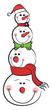 Four snowmen Christmas decoration vector or color illustration
