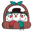 Snowman arrangement on a basket vector or color illustration