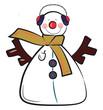 Snowman with headgear vector or color illustration