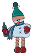 Snowman with bottle of drink vector or color illustration