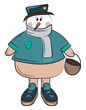 Snowman with basket in hand vector or color illustration