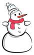Snowman hugging golden star vector or color illustration
