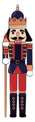 Wooden toy guard with stick vector or color illustration © Morphart