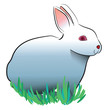 White rabbit with bunny ears vector or color illustration
