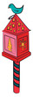 Decorative Christmas lantern with bird vector or color illustration
