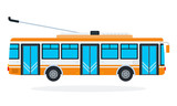 Trolleybus vector flat isolated