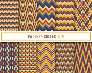 Vector set of 10 retro vintage chevron zigzag seamless pattern. Vintage repeated background, backdrop or invitation card design. Aztec chevron zigzag pattern © Benka Studio