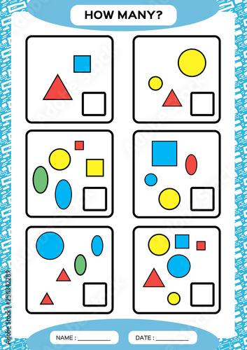 How Many. Counting Game for Preschool Children. Educational math game. Count the shapes in the picture and write the result. blue.