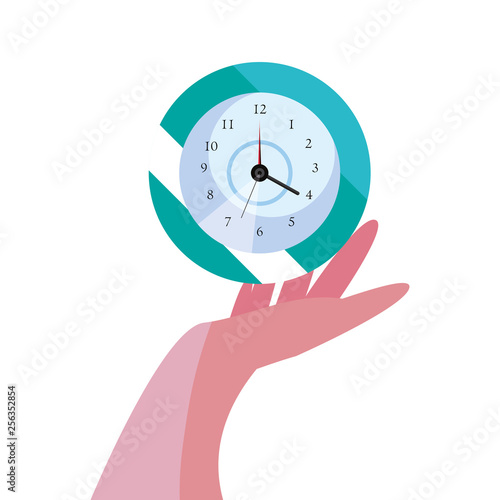 hand with round clock