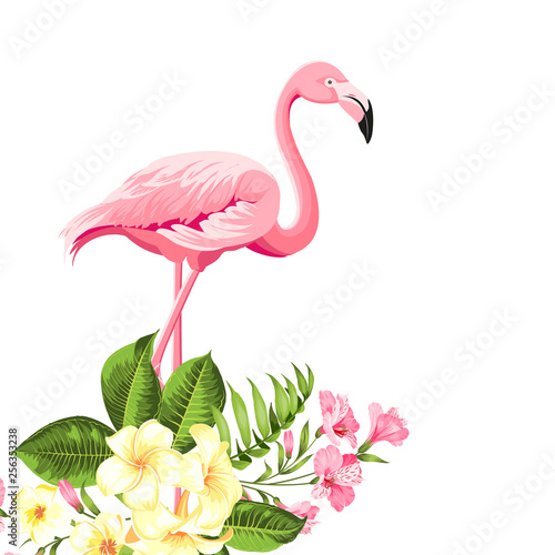 Tropical birds and flowers illustration. Fashion summer print for wrapping, fabric, invitation card and your template design. Vector illustration.